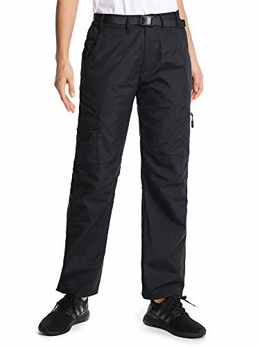 Women's Outdoor Water-Resistant Quick Dry Hiking Travel Cargo Pants,2100,Black,