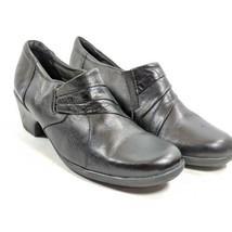 Clarks Bendables Slip On Clogs Shoes Women's Sz 8.5 M Black Leather (sb1ep)  - $23.75