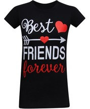 Best Friends Forever Left Arrow Women's Fitted T-Shirt - (Small) - Black - $24.44