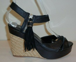 Ralph Lauren Size 6 M GWEN Black Espadrille Wedge Sandals New Womens Shoes - $127.71