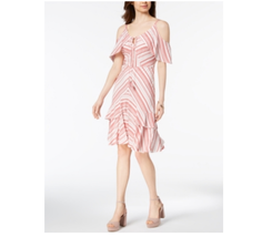 Sangria Womens Striped Cold-Shoulder Tie Neck Ruffle Dress Red/White $89... - $39.59