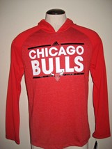 Adidas Mens NBA Chicago Bulls Long Sleeve Climalite Hoodie Shirt Red Black NWT - $33.14