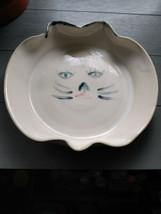 Unique White Ceramic Initialed Cat Face Dish. - $9.50
