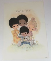 """Vintage Poster Precious Moments Poster """"God Is Love"""", Multicultural, Unu... - $19.99"""