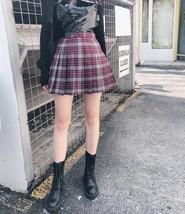 Brown Plaid Skirt Women Girls Pleated Plaid Skirt Plaid Brown Plaid Tennis Skirt image 1