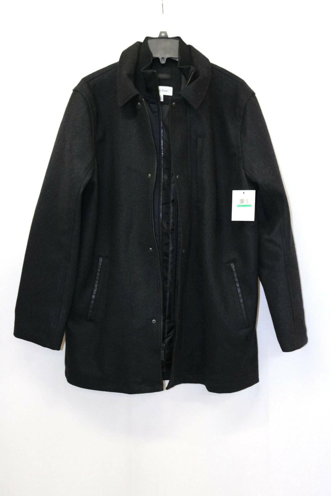 Calvin Klein Mens Jacket Wool Blend Car Coat Charcoal Size L MyAFC