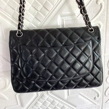 100% Authentic Chanel BLACK QUILTED LAMBSKIN JUMBO CLASSIC DOUBLE FLAP BAG SHW image 2