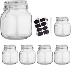6pcs 32 oz Kitchen Food Storage Glass Mason Jars Canister Set with Lids,... - $39.09