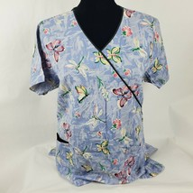 Dickies Womens Scrub Top Sz M Med Blue Butterfly Dragonfly All Over Shor... - $18.67