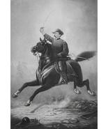 GENERAL SHERIDAN Riding Horse Sword in Hand - Photogravure Antique Print - $19.80