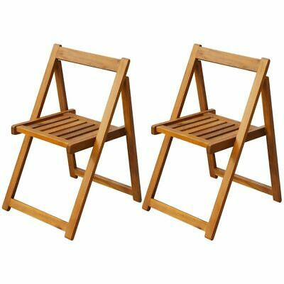 vidaXL 2x Solid Acacia Wood Folding Garden Chairs Outdoor Seat Dining Chair