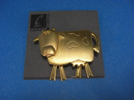 Casual Corner Rare Goldtone Large Cow Brooch Pin - $9.95