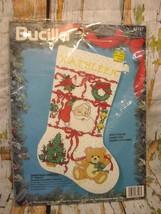 "Bucilla ""Christmas Sampler"" Counted Cross Stitch Stocking Santa Claus Bears 1994 - $19.99"