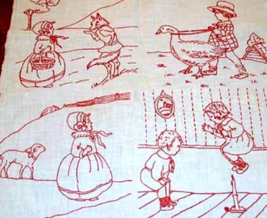 Redwork Quilting Patterns : Vintage 1920s REDWORK VOGUE Nursery quilt and 33 similar items