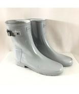 Hunter Womens Rain Boots Original Short Gloss Light Gray Rubber Size 10 - $62.88
