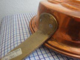 PRETZEL Vintage Handmade Greek Embossed COPPER  Pan w Long handle Mold Tin Lined image 3