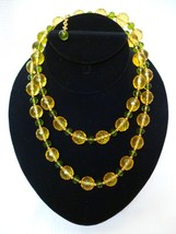"Joan Rivers 36"" Faceted Bead Necklace Yellow Green Goldtone - $22.99"