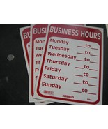 SIGN - Business Hours Monday thru Sunday - Red & White Plastic - $10.00