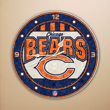 "CHICAGO BEARS NFL FOOTBALL SPORTS LOGO 12"" ART-GLASS CLOCK - €29,73 EUR"