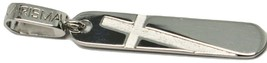 CROSS PENDANT KARISMA WHITE GOLD 18K 750 PLATE ENGRAVED MADE IN ITALY - $382.76