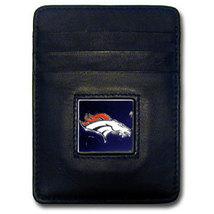 DENVER BRONCOS NFL BLACK LEATHER PEWTER LOGO CREDIT CARD/MONEY CLIP HOLDER - €17,76 EUR