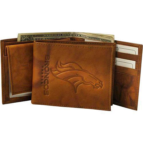NFL Dallas Cowboys Embossed Leather Trifold Leather Wallet Tan 4.25 x 3