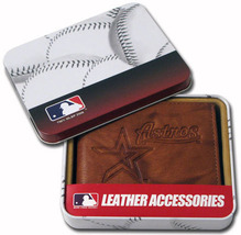HOUSTON ASTROS MLB SPORTS EMBOSSED LOGO BILLFOLD OR TRIFOLD WALLET - €20,39 EUR