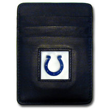INDIANAPOLIS COLTS NFL BLACK LEATHER PEWTER LOGO CREDIT CARD/MONEY CLIP ... - €17,62 EUR