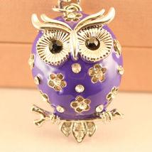 Purple Owl Fashion Keychain Rhinestone Charm Chain Cute Gift #MCK11 - $18.17