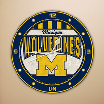 "MICHIGAN WOLVERINES NCAA FOOTBALL SPORTS LOGO 12"" ART-GLASS CLOCK - €29,73 EUR"