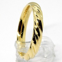 18K YELLOW GOLD BAND BRAIDED RING, BRAID WOVEN, SMOOTH, MADE IN ITALY image 2
