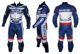 SUZUKI 4313 BLUE MOTORBIKE MOTORCYCLE COWHIDE LEATHER ARMOURED 2 PIECE SUIT - $339.99