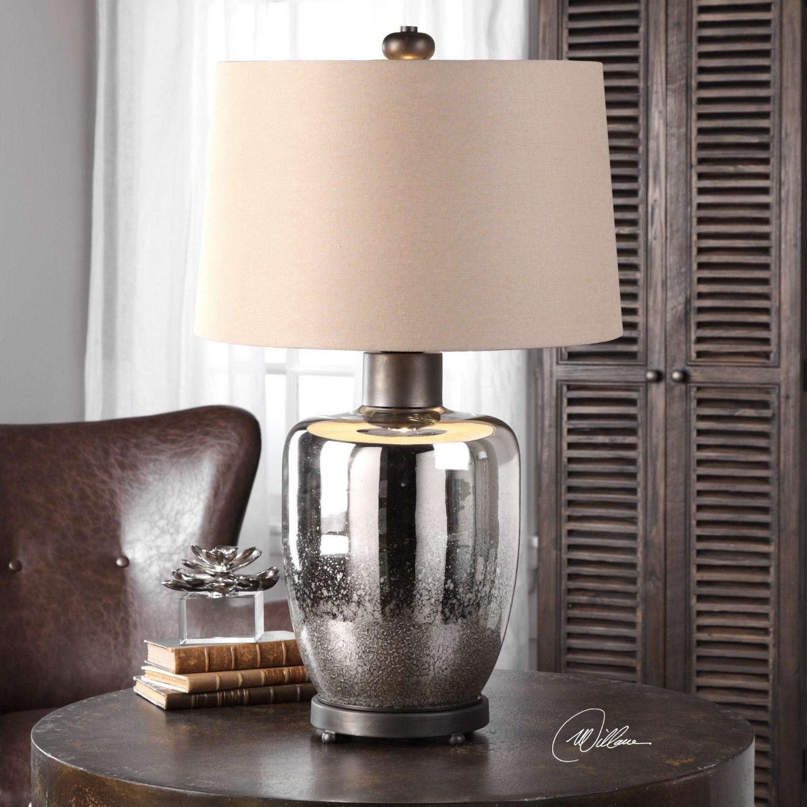 "PAIR DESIGNER 32"" AGED MERCURY GLASS TABLE LAMP OXIDIZED BRONZE METAL"