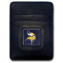 MINNESOTA VIKINGS NFL BLACK LEATHER PEWTER LOGO CREDIT CARD/MONEY CLIP H... - €16,99 EUR