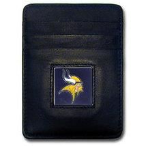 MINNESOTA VIKINGS NFL BLACK LEATHER PEWTER LOGO CREDIT CARD/MONEY CLIP H... - €17,76 EUR