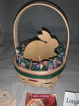 Longaberger 1999 Easter Basket Combo Liner Tie on Bunny Divider Plastic Protecto - $54.22