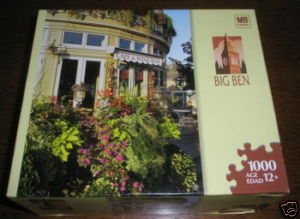 MB BIG BEN PUZZLE CAFE WITH FLOWERS CANADA COMPLETE