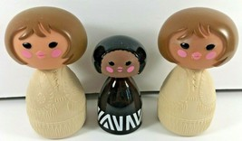 3 AVON Empty Small World Doll Plastic Glass Bottles Cream Lotion Cologne - $19.79