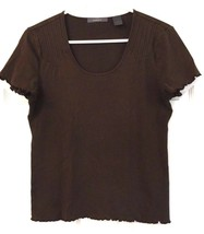 Liz Claiborne Cotton Shirt Brown Gathered Hem Cuffs Scoop Neck Size M - $9.90