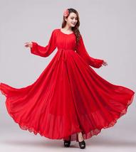 BLACK Chiffon Maxi Maternity Dress long sleeve Loose Plus Size Chiffon Dress  image 6