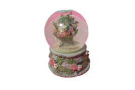 Musical Snowglobe Basket Of Roses San Francisco Music Box Plays The Ros... - $24.75