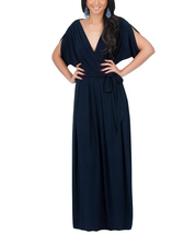 Women's Long Formal Short Sleeve Cocktail Flowy V-Neck Gown Maxi Dress - $29.99
