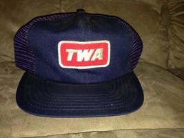 VTG-1970s TWA Trans World Airlines employee mesh trucker snapback hat - $36.63