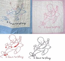 BABY'S DAY crib quilt blocks embroidery transfer pattern c1936   - $10.00