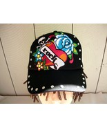Tattoo Rock Hat with Heart, Skull, and Blue Rose - $10.00