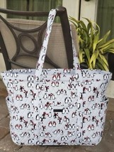 VERA BRADLEY GET GOING CARRIED AWAY TOTE LARGE TRAVEL BAG GRAY PENGUINS ... - $69.29