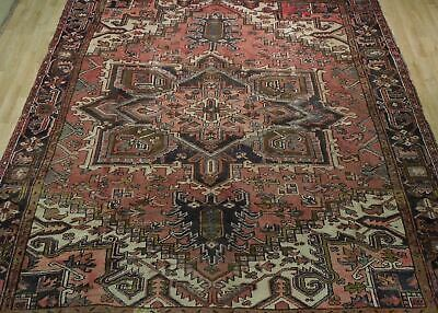 8x11 Red Heriz Wool Handmade Rust Worn-out Antique over 100 y o Persian Rug image 12