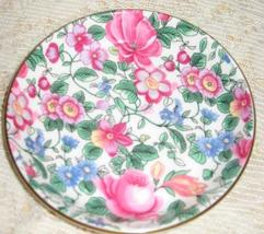 Staffordshire-Butter Pat/ Tea Bag Plate/ Coaster-Thousand Flowers - England - $8.00
