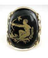 Saggitarius Zodiac Sign Limoge Cameo Ring 14K Rolled Gold The Centaur - $64.98