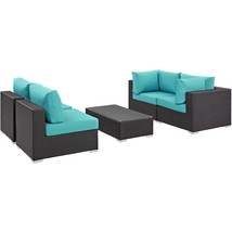 Convene 5 Piece Outdoor Patio Sectional Set Espresso Turquoise EEI-2163-... - $1,712.00